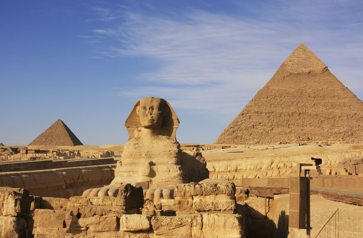 The Pyramid of Chephren, pictured here on the right, is one of four Egyptian pyramids to be scanned by scientists i