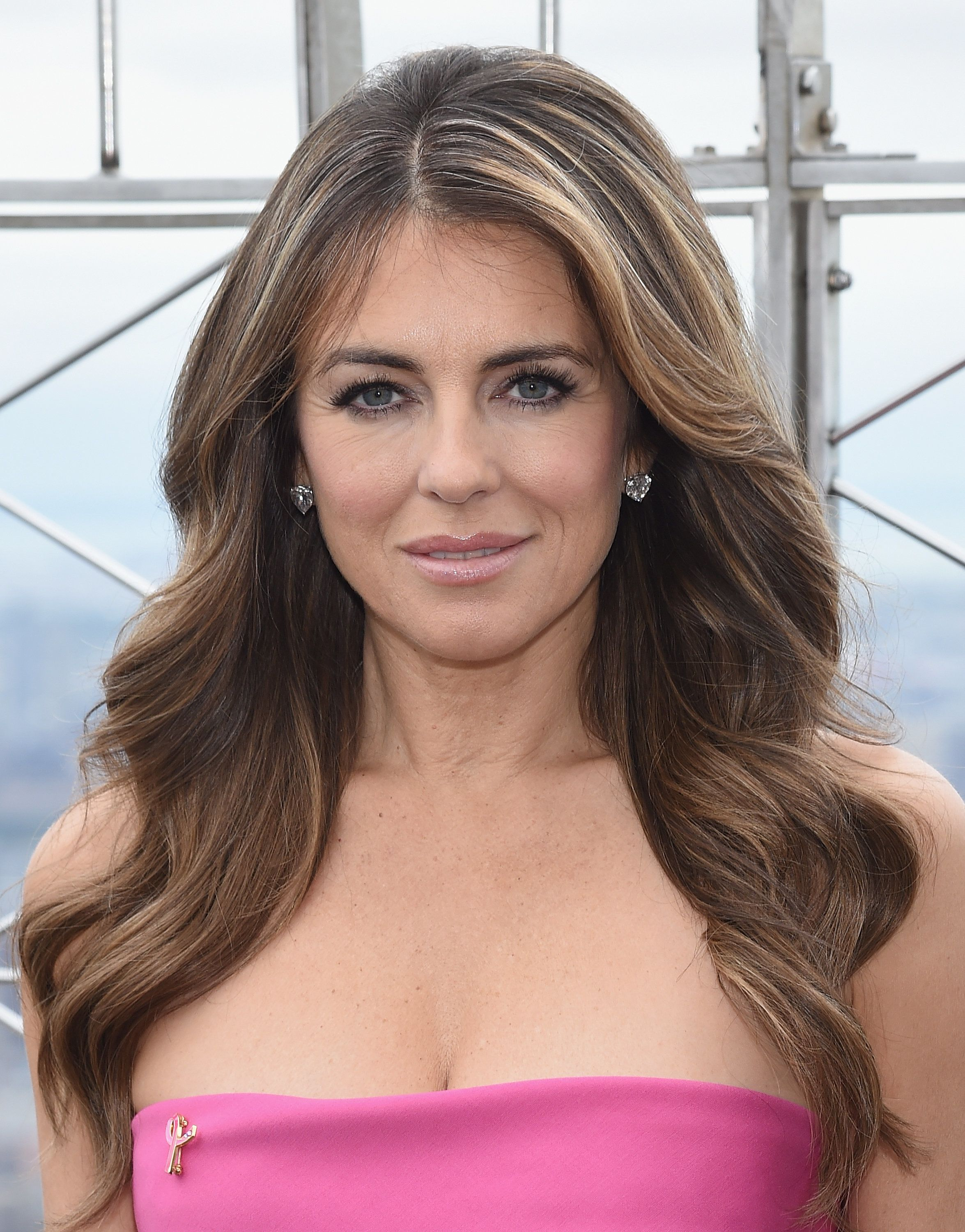 NEW YORK, NY - OCTOBER 01:  Elizabeth Hurley attends Elizabeth Hurley and William P. Lauder Light The Empire State Building Pink at The Empire State Building on October 1, 2015 in New York City.  (Photo by Dimitrios Kambouris/WireImage)