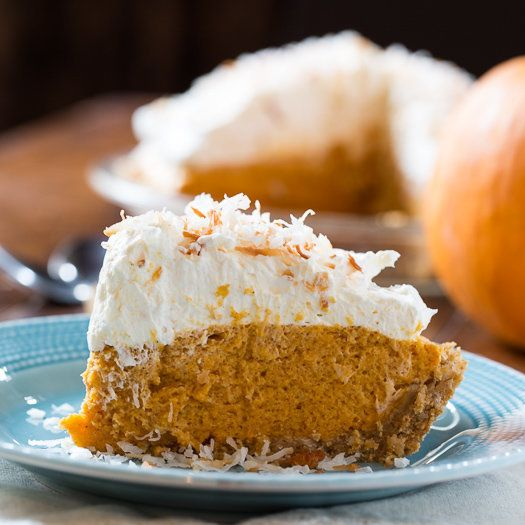 "<strong>Get the <a href=""http://spicysouthernkitchen.com/coconut-pumpkin-chiffon-pie/"" target=""_blank"">Coconut Pumpkin Chiffo"