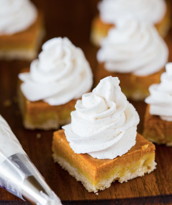 "<strong>Get the <a href=""http://willowbirdbaking.com/2015/09/27/pumpkin-pie-shortbread-bars-with-maple-cinnamon-whipped-cream"