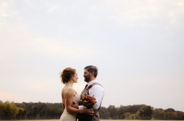 """Shelby and Sean's rustic fall wedding featured a fire pit, karaoke and home-brewed beer in Rural Hill, Huntersvill"
