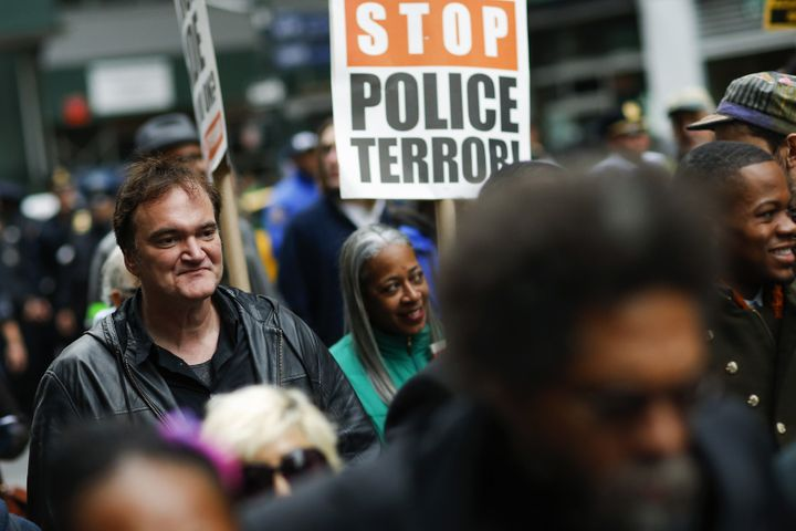 Quentin Tarantino takes part in a march against police brutality in New York.
