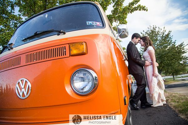 """After their wedding ceremony in Lancaster County, Pennsylvania on Sunday, Joe and Courtney rode off in style in a bright ora"