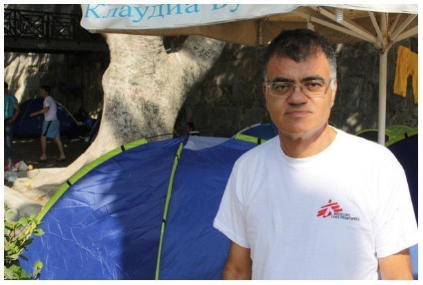 Interpreter Stephanos Stephanidis is the voice of both the aid workers and the refugees.