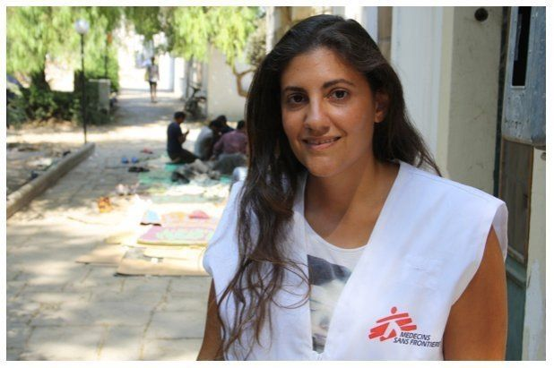 Psychologist Marina Spyridaki visits the areas where refugees are staying with an interpreter and explains how she can help.