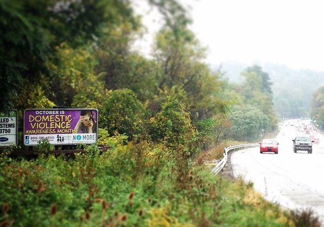 A billboard promotingdomestic violence services in Washington County, Pennsylvania.