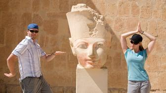 Hapsepsut Temple complex statue of queen hapsepsut couple playing egyptain dancing