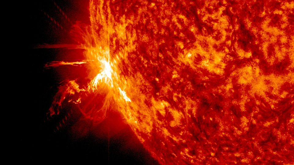 A powerful X-class solar flare, one of three X-class flares unleashed by the sun on June 10 and 11, as seen by NASA's Solar D