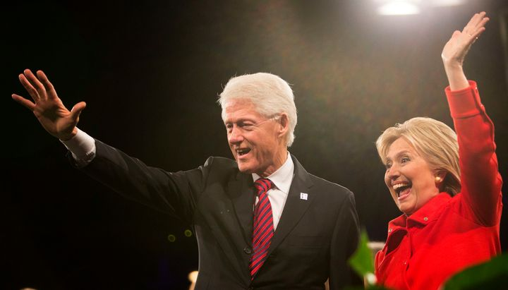 Hillary Clinton has been strongly defending her husband's record on gay rights.