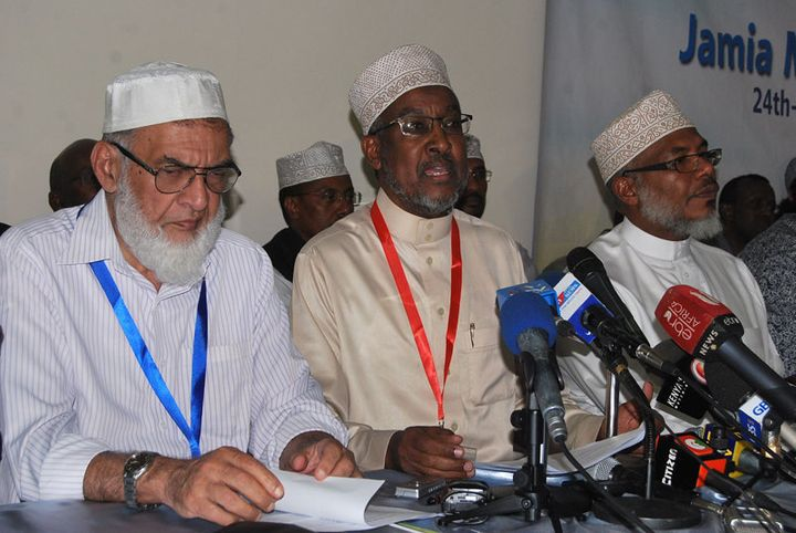 Left to right, Farouk Adamu, deputy chairperson of Nairobi's Jamia Mosque Committee, Abdullahi Abdi, chairperson of Nat