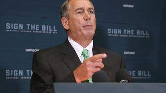 WASHINGTON, DC - OCTOBER 21:  Speaker of the House John Boehner (R-OH) calls on reporters during a news conference following the weekly House GOP conference meeting in the U.S. Capitol October 21, 2015 in Washington, DC. Boehner announced that the internal Republican election for speaker will be Oct. 28, and the floor election will be Oct. 29.  (Photo by Chip Somodevilla/Getty Images)