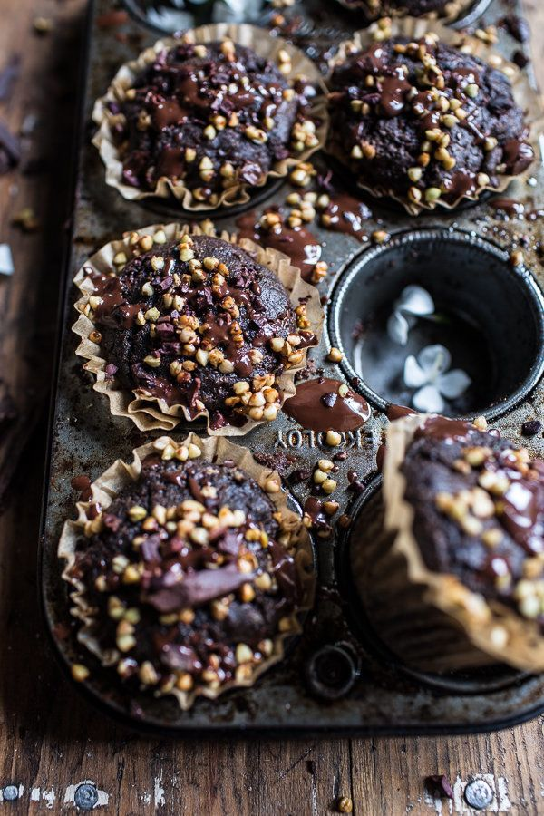 "<strong>Get the <a href=""http://www.halfbakedharvest.com/double-chocolate-coconut-oil-zucchini-muffins-with-caramelized-buckw"