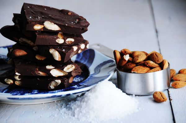 "<strong>Get the <a href=""http://food52.com/recipes/20187-roasted-almonds-sea-salt-chocolate-bark"" target=""_blank"">Roasted Alm"