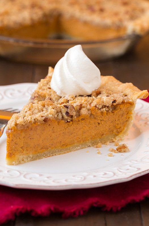 """<strong>Get the <a href=""""http://www.cookingclassy.com/2014/11/streusel-pumpkin-pie/"""">Streusel Pumpkin Pie recipe</a>fro"""