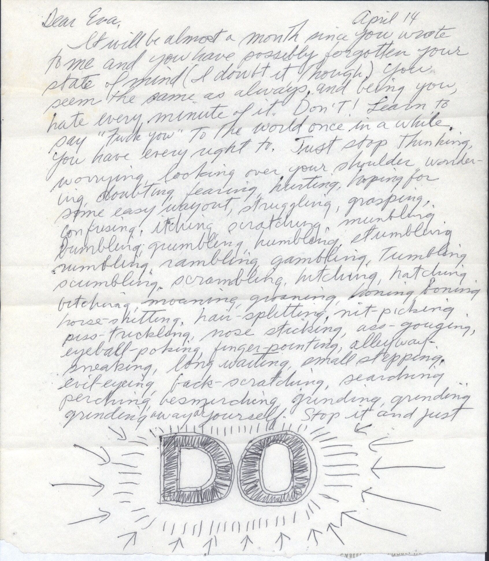 Sol lewitt eve hesse letter