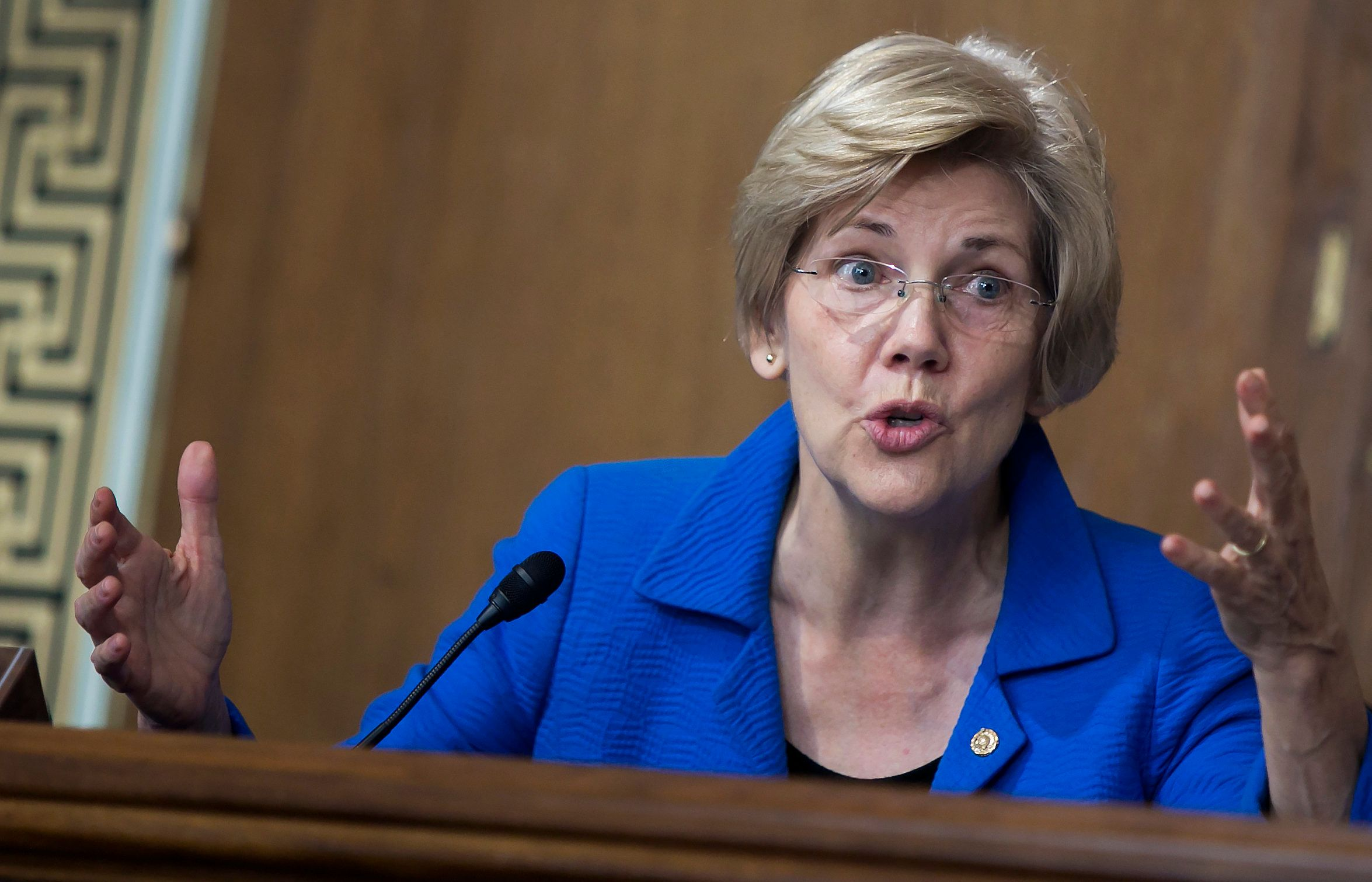 UNITED STATES - JULY 29: Sen. Elizabeth Warren, D-Mass., proposes an amendment as the Senate Energy and Natural Resources Committee holds a markup of the 'Energy Policy Modernization Act of 2015' on Capitol Hill in Washington, July 29, 2015. (Photo By Al Drago/CQ Roll Call)