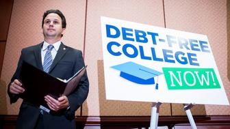 UNITED STATES - JUNE 10: Sen. Brian Schatz, D-Hawaii, participates in the press conference in the Capitol to call for the elimination of student loan debt at public higher education institutions on Wednesday, June 10, 2015. (Photo By Bill Clark/CQ Roll Call)