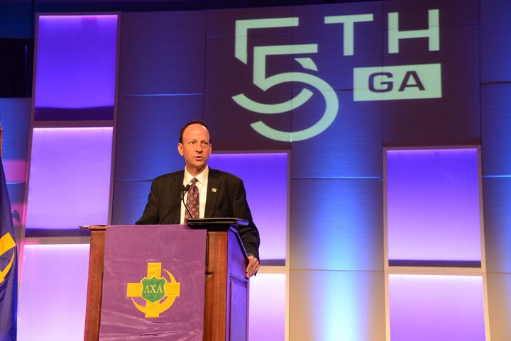 Bill Farkas, CEO of Lambda Chi Alpha, speaks at the organization's 55th General Assembly in July 2014.