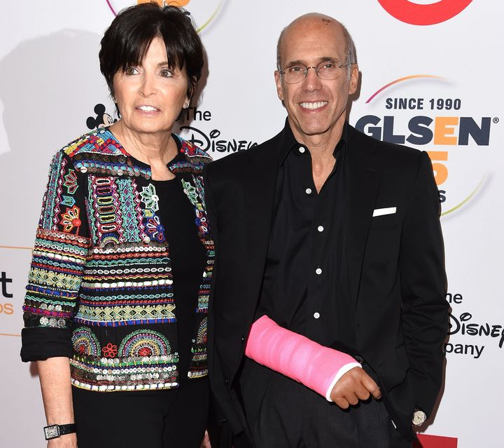 DreamWorks Animation CEO Jeffrey Katzenberg and his wife Marilyn. Katzenberg wears a neon pink cast, after undergoi