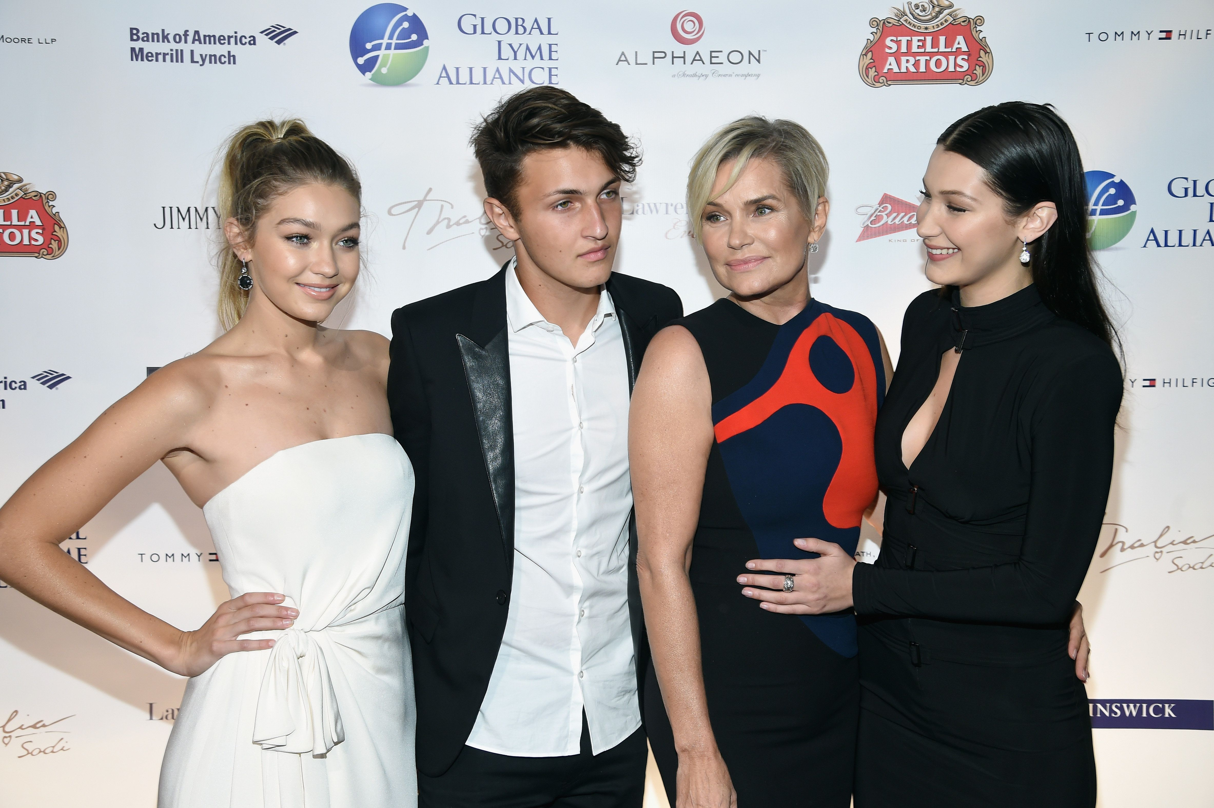 NEW YORK, NY - OCTOBER 08:  (L-R) Gigi Hadid, Anwar Hadid, Yolanda Foster and Bella Hadid attend the Global Lyme Alliance 'Uniting for a Lyme-Free World' Inaugural Gala at Cipriani 42nd Street on October 8, 2015 in New York City.  (Photo by Dimitrios Kambouris/Getty Images for Global Lyme Alliance)