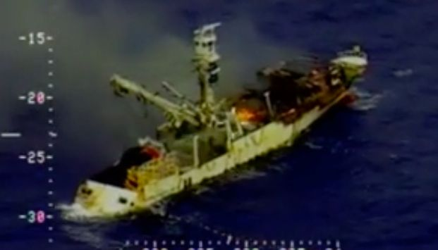A screenshot from a U.S. Coast Guard video shows theGlory Pacific No. 8 on fire.