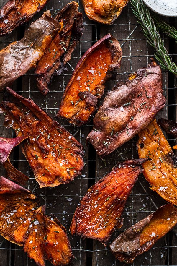"""<strong>Get the <a href=""""http://www.halfbakedharvest.com/simple-salty-sweet-potato-skin-chips/"""">Simple Salty Sweet Potato Ski"""