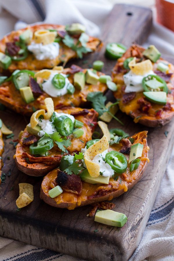 """<strong>Get the <a href=""""http://www.halfbakedharvest.com/chicken-chili-con-carne-stuffed-sweet-potato-skins-links-inspire/"""">C"""