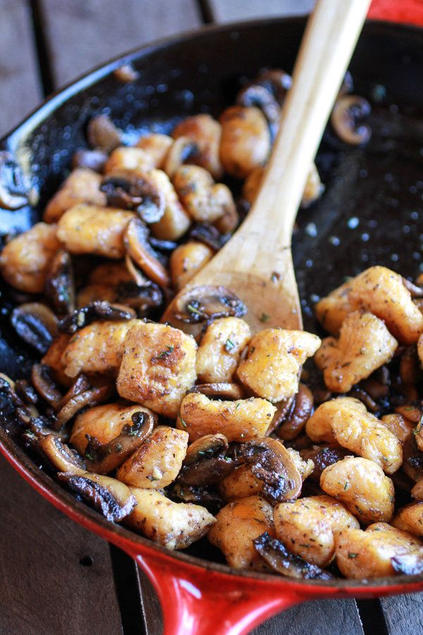 "<strong>Get the <a href=""http://www.halfbakedharvest.com/crispy-brown-butter-sweet-potato-gnocchi-balsamic-caramelized-mushro"