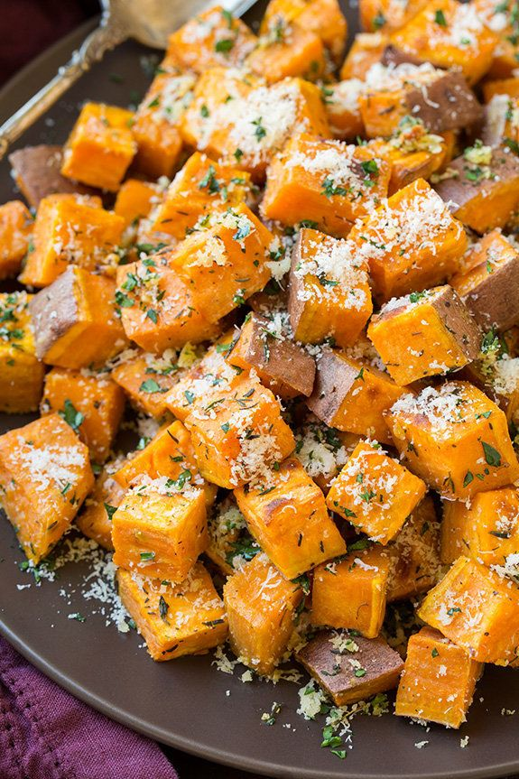 """<strong>Get the <a href=""""http://www.cookingclassy.com/2015/09/garlic-herb-roasted-sweet-potatoes-with-parmesan/"""">Garlic-Herb"""