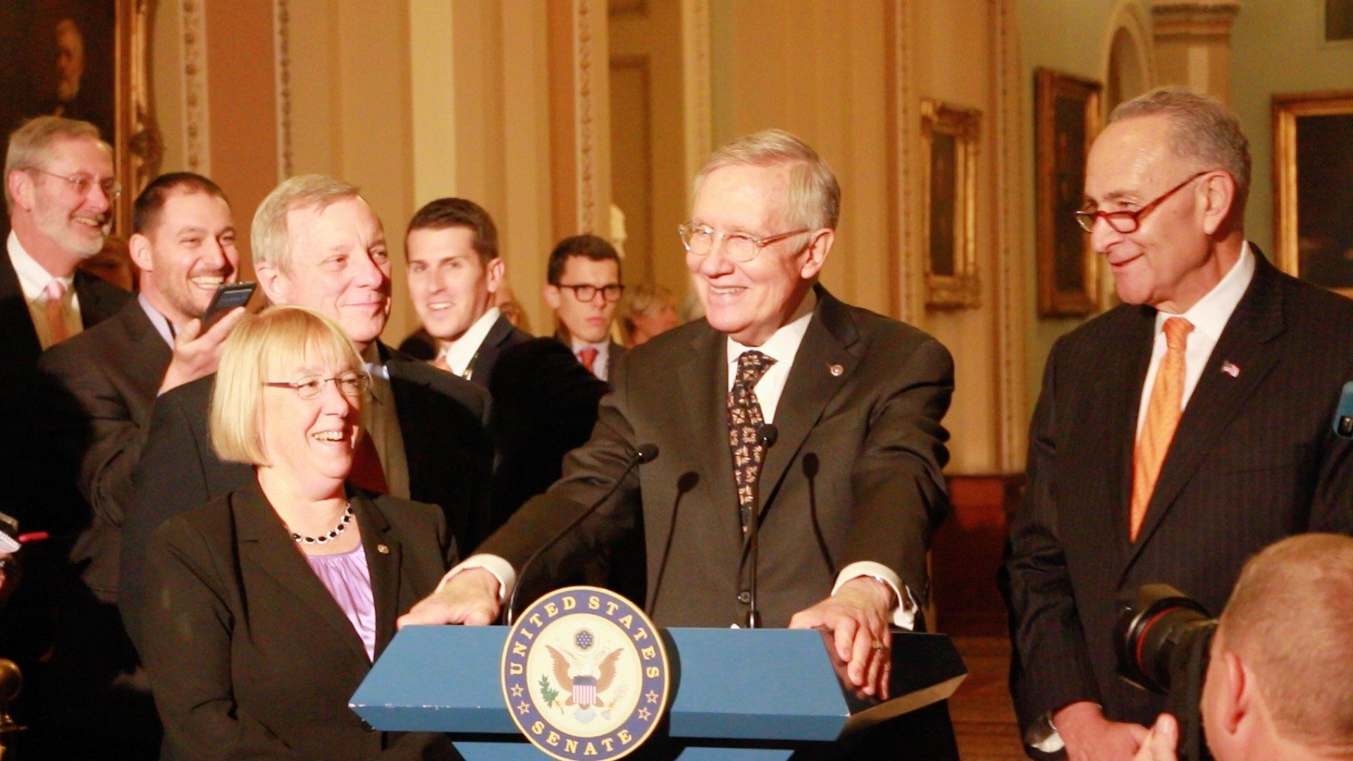 "Harry Reid chuckles at being unable to say ""LGBT."""