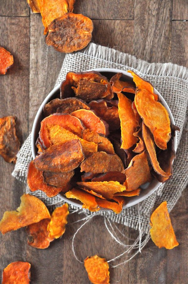 """<strong>Get the <a href=""""http://minimalistbaker.com/baked-sweet-potato-chips/"""">Baked Sweet Potato Chips recipe</a>from"""