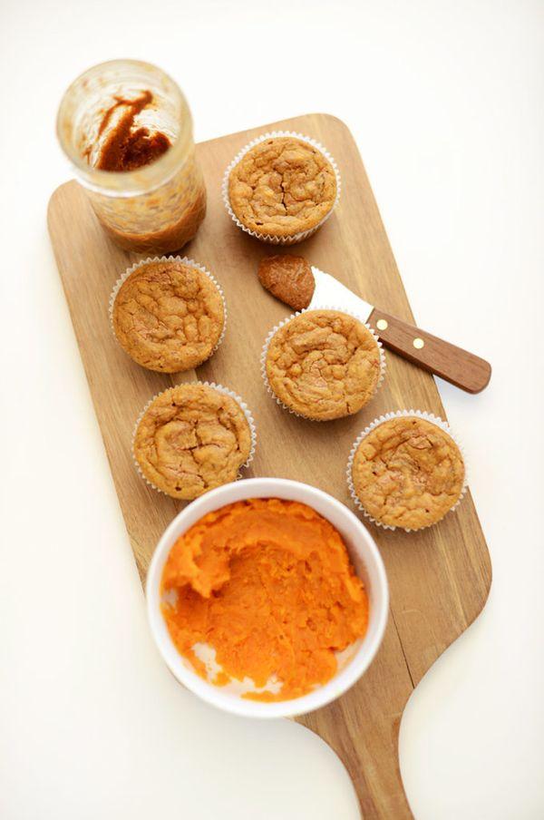 """<strong>Get the <a href=""""http://minimalistbaker.com/sweet-potato-almond-butter-muffins/"""">Sweet Potato Almond Butter Muffins r"""