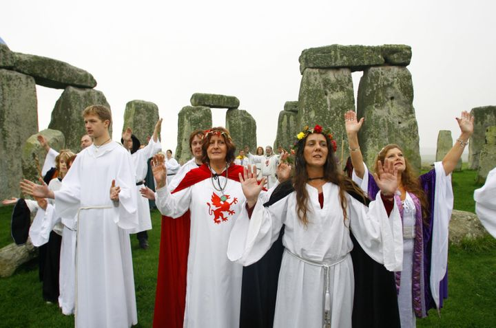 Druids perform a Samhain or pagan Halloween style blessing ceremony at Stonehenge in Wiltshire.