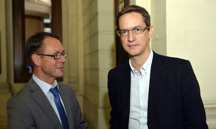 Chris Meganck and Eric Roux of Scientology Belgium and Europe are pictured during the first session of a trial against Scient
