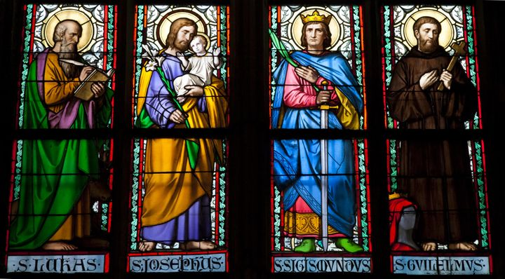 Stained galss window in St Vitus Cathedral.
