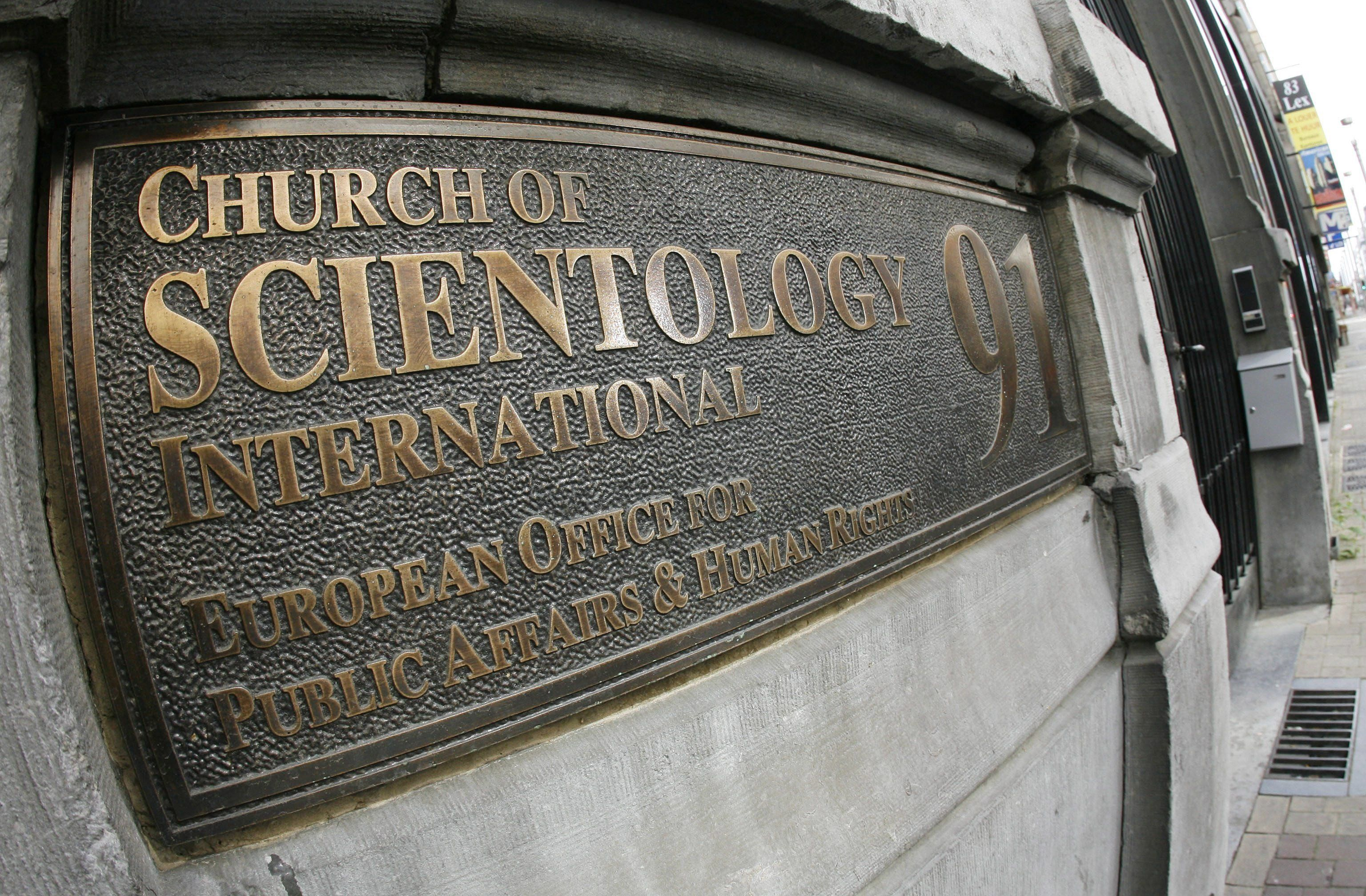 This 2007 file photo shows the entrance plaque forthe Church of Scientology's European Office for Public Affairs and Hu