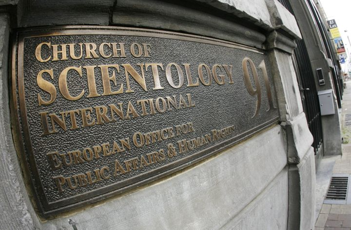 This 2007 file photo shows the entrance plaque for the Church of Scientology's European Office for Public Affairs and Hu