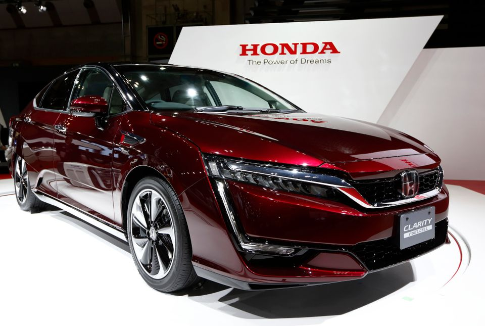 The Honda Motor Co. FCX Clarity fuel cell vehicle stands on display at the Tokyo Motor Show in Tokyo, Japan, on Wednesday, Oc