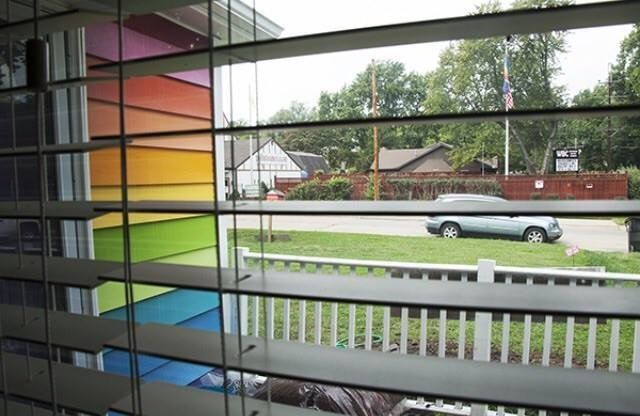 The view of the Westboro Baptist Church from the window in the living room of the Equality House in Topeka, Kansas.