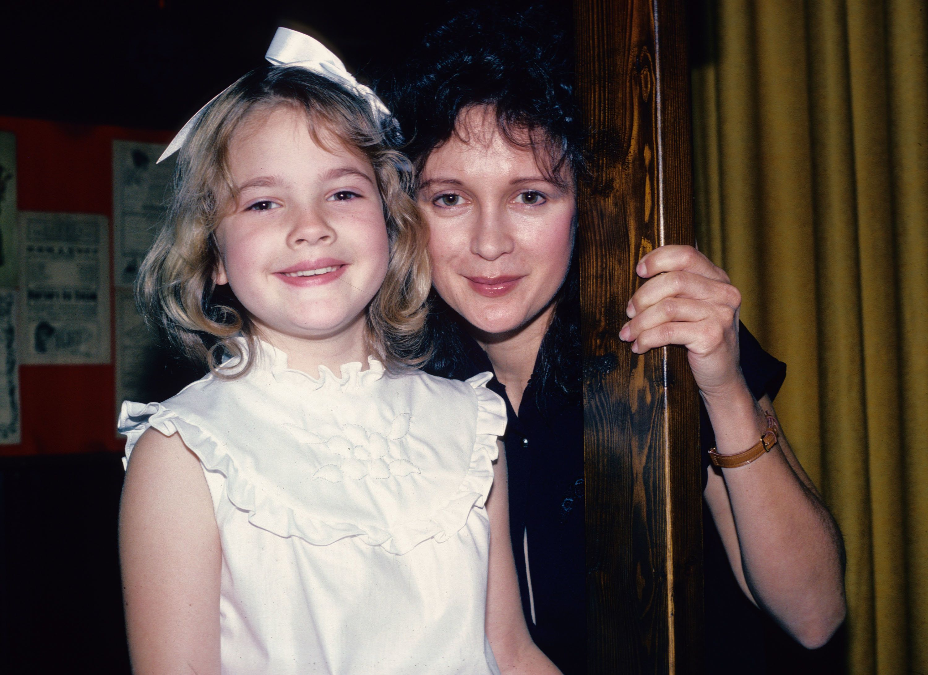 NEW YORK - JUNE 8: 'ET' star Drew Barrymore poses for a photograph June 8, 1982 with her mother Jaid Barrymore in New York City. (Photo by Yvonne Hemsey/Getty Images)