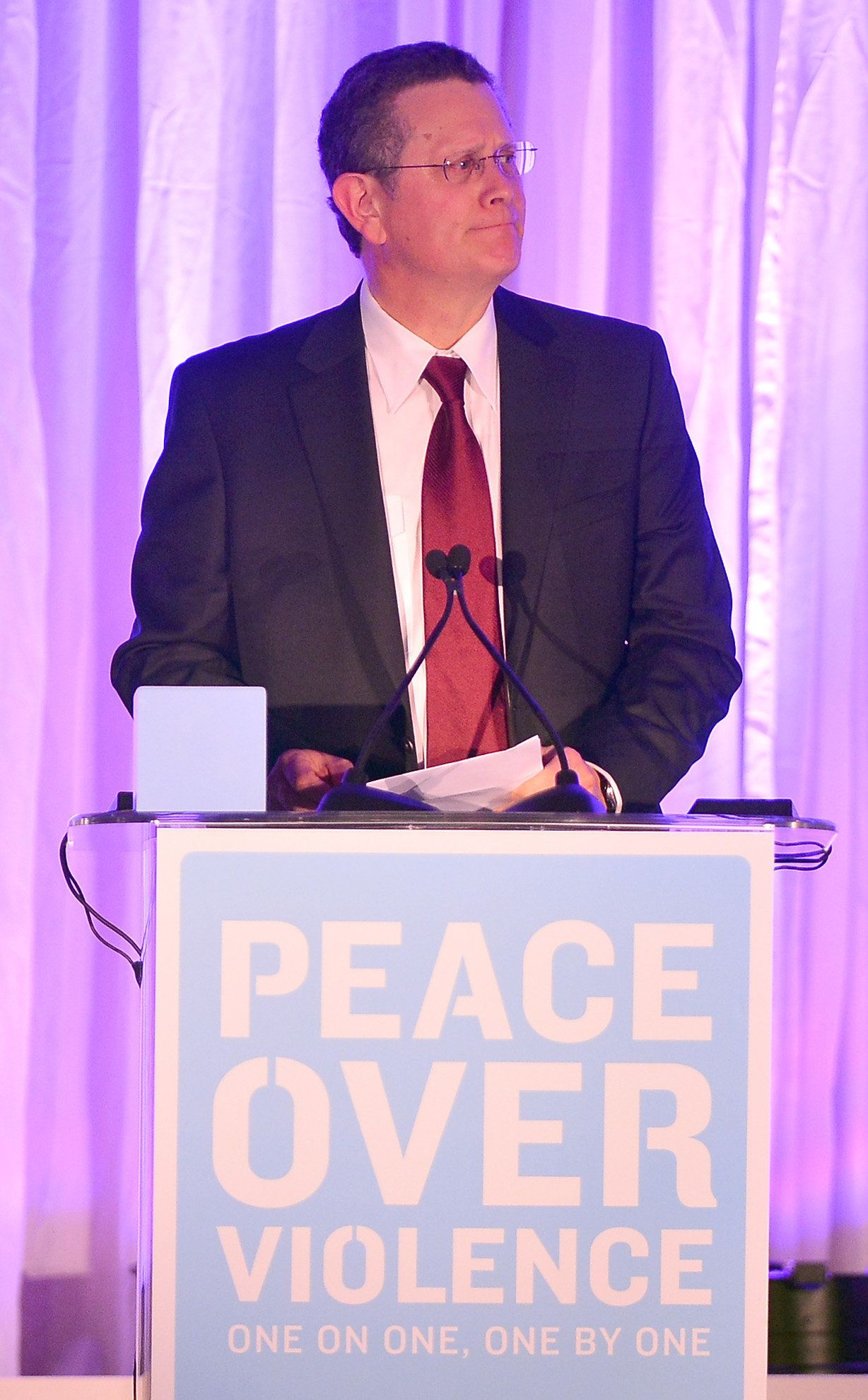 Researcher David Lisak is shown speaking at an awards ceremony in 2012 in California.