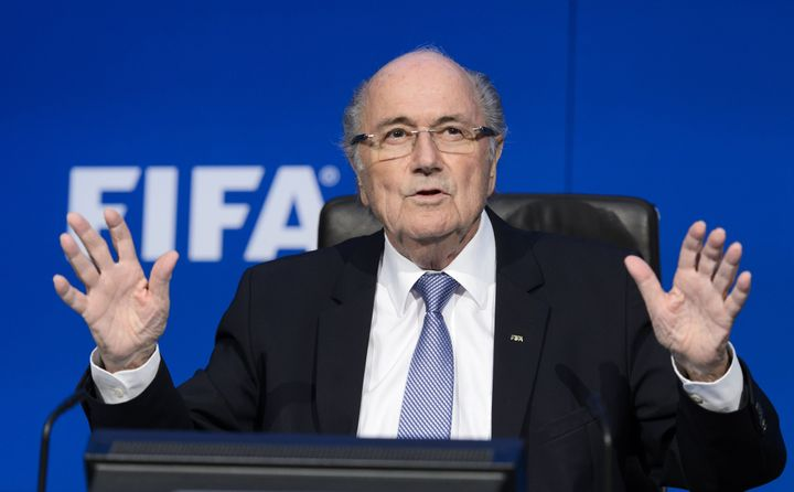Blatter gestures during a press conference on July 20, 2015, in Zurich.