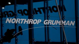 The Northrop Grumman Corp. booth stands at the Singapore Airshow held at the Changi Exhibition Centre in Singapore, on Tuesday, Feb. 11, 2014. The air show takes place from Feb. 11-16. Photographer: Brent Lewin/Bloomberg via Getty Images