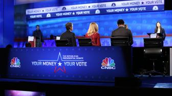 CNBC EVENTS; ?Your Money, Your Vote: The Republican Presidential Debate? -- Pictured: CNBC?s Chief Washington Correspondent John Harwood, Becky Quick, co-anchor of ?Squawk Box? and Carl Quintanilla, co-anchor of ?Squawk on the Street? and ?Squawk Alley,? will moderate ?Your Money, Your Vote: The Republican Presidential Debate? on Wednesday, October 28. The RNC sanctioned debate will be held at the Coors Events Center at the University of Colorado Boulder and broadcast live on CNBC -- (Photo by: Adam Jeffery/CNBC/NBCU Photo Bank via Getty Images)