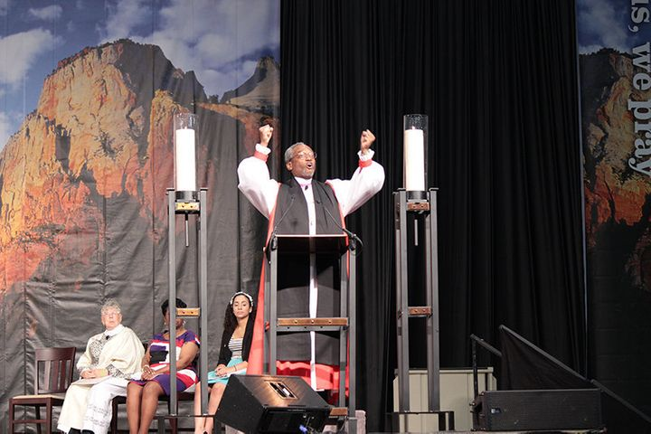 Bishop Michael Curry preaches at the 78th General Convention of the Episcopal Church in July 2015.
