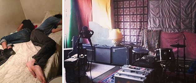 Left: John Eatherly and Max Peebles asleep in Eatherly's Room. Right: The makeshift recording area in the loft.