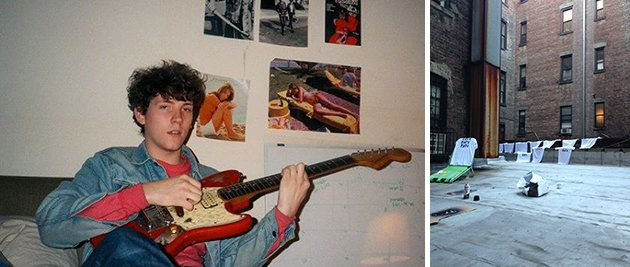 Left: John Eatherly in his bedroom. Right: Band t-shirts drying on the loft's back roof.