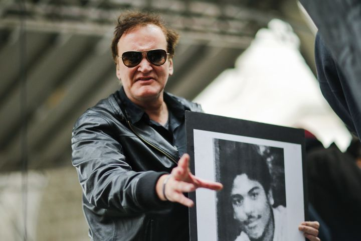 """Director Quentin Tarantino takes part in a march against police brutality called """"Rise Up October"""" on Oct. 24 in New York. Ca"""