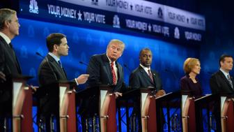 BOULDER, CO - OCTOBER 28: Donald Trump watches as Marco Rubio answers a question during the debate. The CNBC Republican Presidential Debate is being held at the Coors Events Center at the University of Colorado, Boulder on October 28, 2015 in Boulder, Colorado. (Photo by RJ Sangosti/The Denver Post via Getty Images)