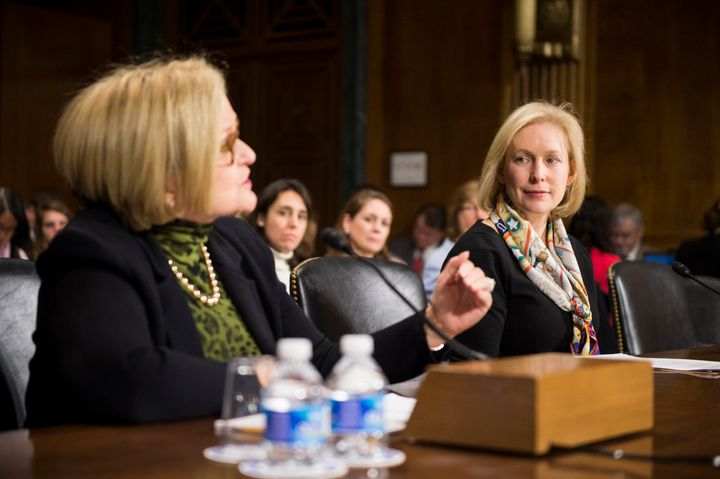 Sen. Claire McCaskill, D-Mo., left, and Sen. Kirsten Gillibrand, D-N.Y., testify during the Senate Judiciary Committee Crime